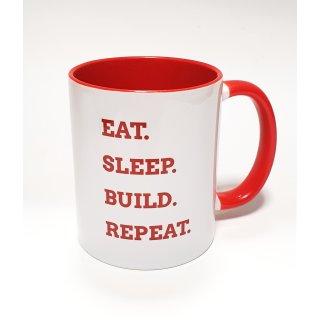 """Lucky Bricks Tasse """"Eat.Sleep.Build.Repeat."""""""